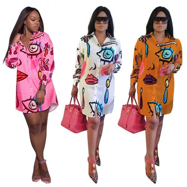 Sexy Africa Clothing Women Bazin Riche African Shirt Dress Casual Abstract Personality Printed Loose Plus Size Long Blouse Lady 3