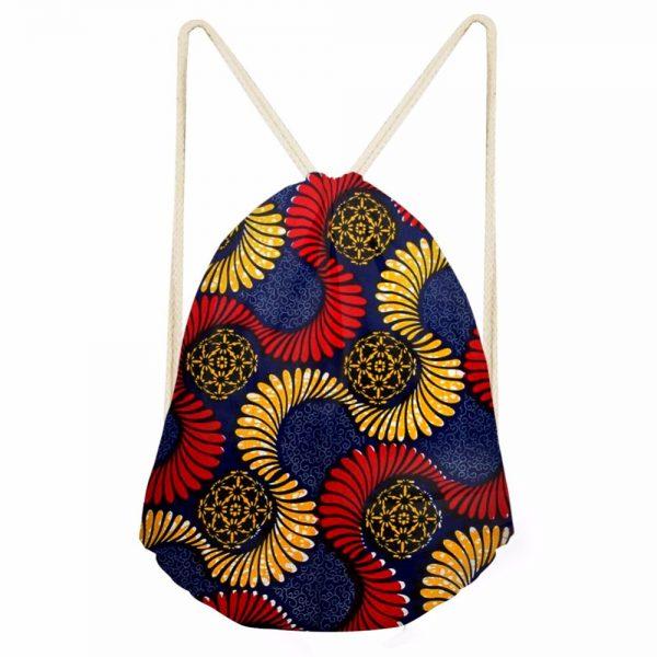 New Drawstring Bag Women Backpack African Printing Small Drawstring Bag for Boys Men's Mochila Shoes Package Bag Drop Shipping 2