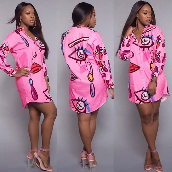 Sexy Africa Clothing Women Bazin Riche African Shirt Dress Casual Abstract Personality Printed Loose Plus Size Long Blouse Lady 1