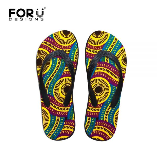 FORUDESIGNS Summer Men Slippers African Design Soft Soles Non-slip Male Casual Beach Flip Flops Shoes Outside Flats Dropshipping